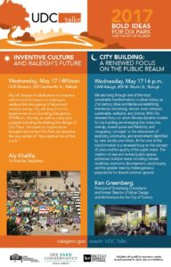 UDC Talks: 2017 Bold Ideas for Dix Park @Noon and @Night @ City of Raleigh Museum    Raleigh   North Carolina   United States