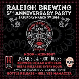 Raleigh Brewing 5th Anniversary Party @ Raleigh Brewing Company | Raleigh | North Carolina | United States