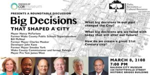 Roundtable Discussion: Big Decisions That Shaped a City @ City of Raleigh Museum  | Raleigh | North Carolina | United States